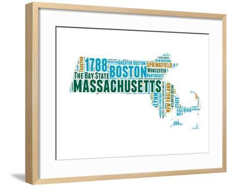 Massachusetts Word Cloud Map-NaxArt-Framed Art Print