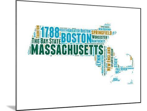 Massachusetts Word Cloud Map-NaxArt-Mounted Art Print