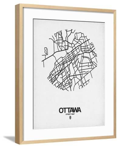 Ottawa Street Map White-NaxArt-Framed Art Print