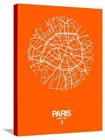 Paris Street Map Orange-NaxArt-Stretched Canvas Print