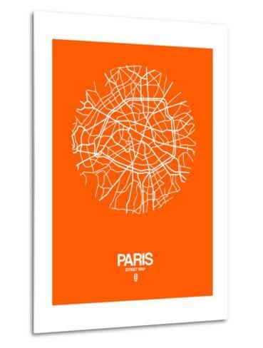 Paris Street Map Orange-NaxArt-Metal Print