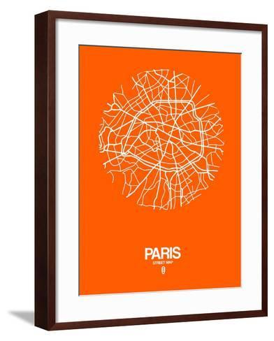 Paris Street Map Orange-NaxArt-Framed Art Print