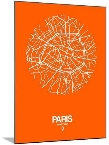 Paris Street Map Orange-NaxArt-Mounted Art Print