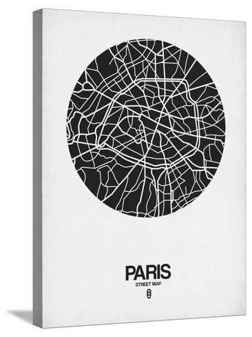 Paris Street Map Black on White-NaxArt-Stretched Canvas Print