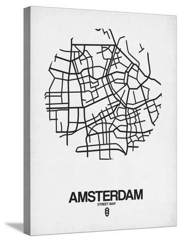 Amsterdam Street Map White-NaxArt-Stretched Canvas Print