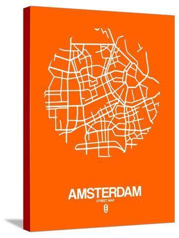 Amsterdam Street Map Orange-NaxArt-Stretched Canvas Print