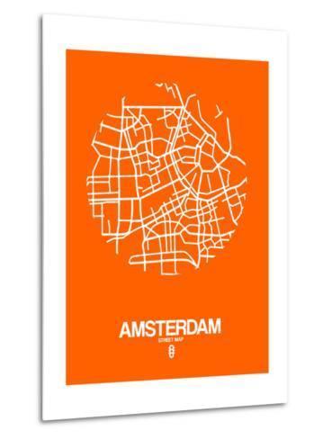 Amsterdam Street Map Orange-NaxArt-Metal Print