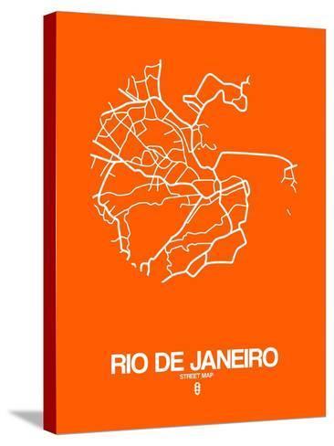 Rio de Janeiro Street Map Orange-NaxArt-Stretched Canvas Print