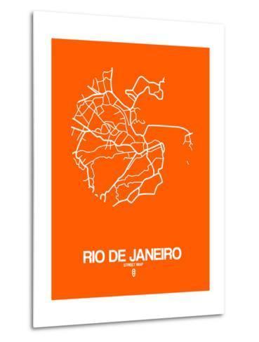 Rio de Janeiro Street Map Orange-NaxArt-Metal Print