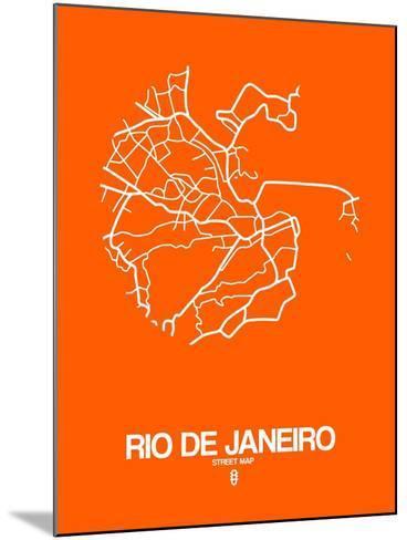 Rio de Janeiro Street Map Orange-NaxArt-Mounted Art Print