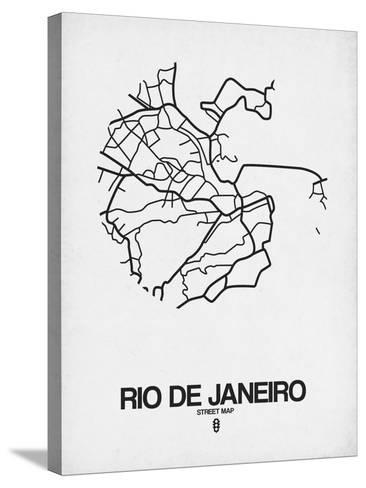 Rio de Janeiro Street Map White-NaxArt-Stretched Canvas Print