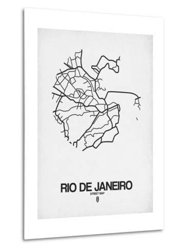 Rio de Janeiro Street Map White-NaxArt-Metal Print