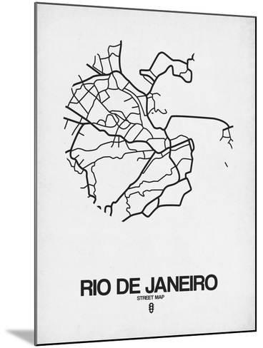 Rio de Janeiro Street Map White-NaxArt-Mounted Art Print