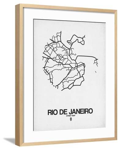 Rio de Janeiro Street Map White-NaxArt-Framed Art Print