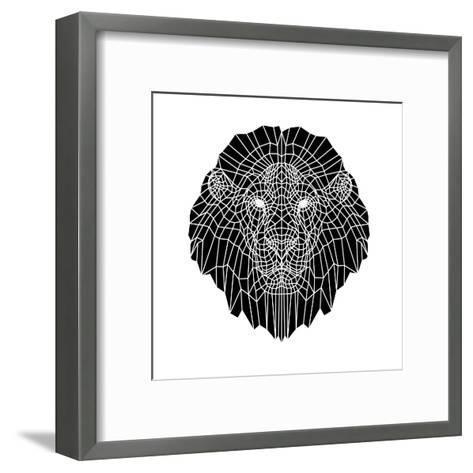 Lion Head Black Mesh 2-Lisa Kroll-Framed Art Print