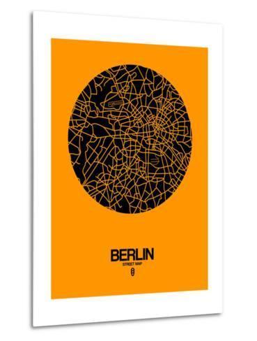 Berlin Street Map Yellow-NaxArt-Metal Print