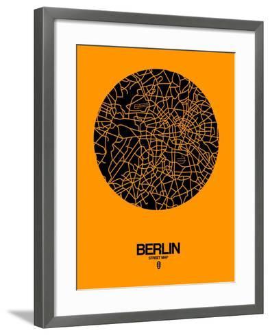 Berlin Street Map Yellow-NaxArt-Framed Art Print