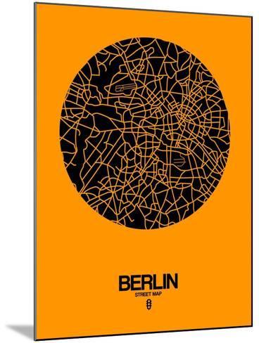 Berlin Street Map Yellow-NaxArt-Mounted Art Print