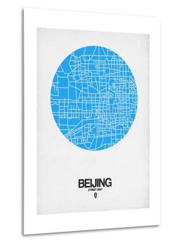 Beijing Street Map Blue-NaxArt-Metal Print