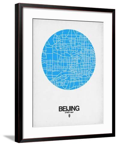 Beijing Street Map Blue-NaxArt-Framed Art Print