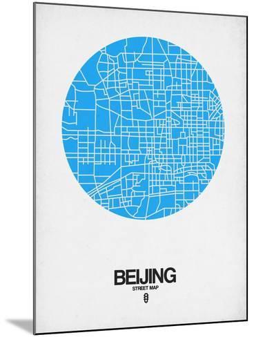 Beijing Street Map Blue-NaxArt-Mounted Art Print