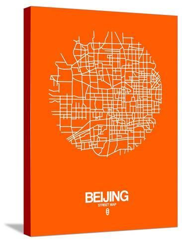 Beijing Street Map Orange-NaxArt-Stretched Canvas Print