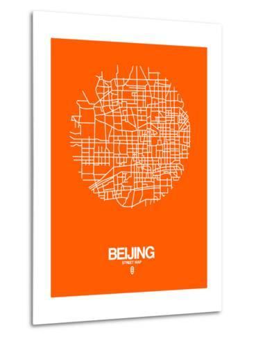 Beijing Street Map Orange-NaxArt-Metal Print