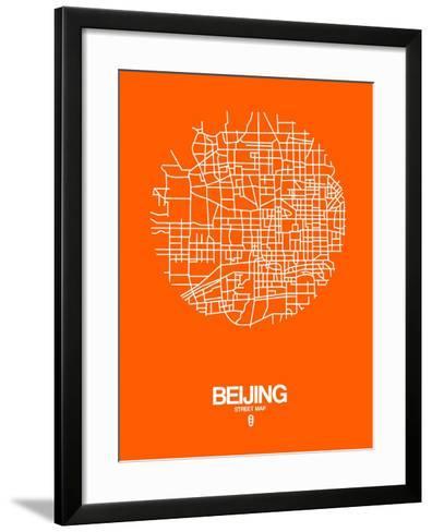 Beijing Street Map Orange-NaxArt-Framed Art Print