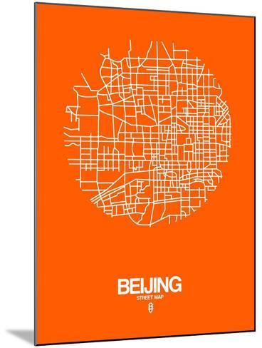 Beijing Street Map Orange-NaxArt-Mounted Art Print