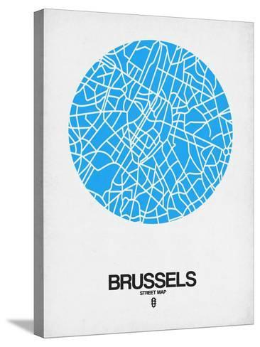 Brussels Street Map Blue-NaxArt-Stretched Canvas Print