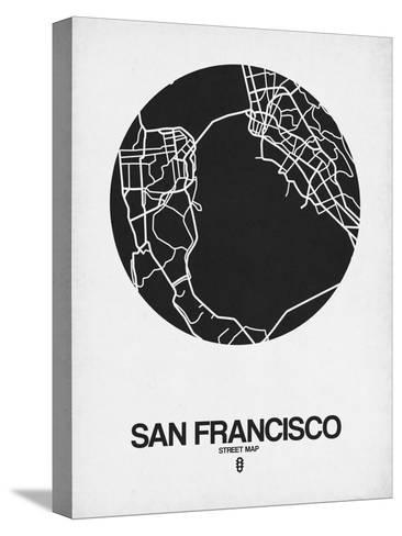 San Francisco Street Map Black on White-NaxArt-Stretched Canvas Print