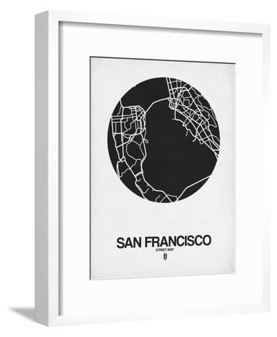San Francisco Street Map Black on White-NaxArt-Framed Art Print
