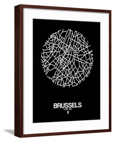 Brussels Street Map Black-NaxArt-Framed Art Print