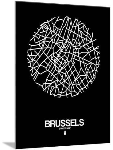 Brussels Street Map Black-NaxArt-Mounted Art Print