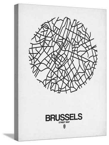 Brussels Street Map White-NaxArt-Stretched Canvas Print