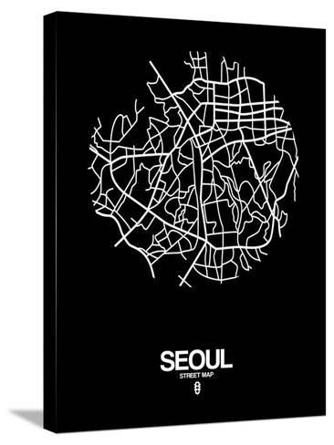 Seoul Street Map Black-NaxArt-Stretched Canvas Print