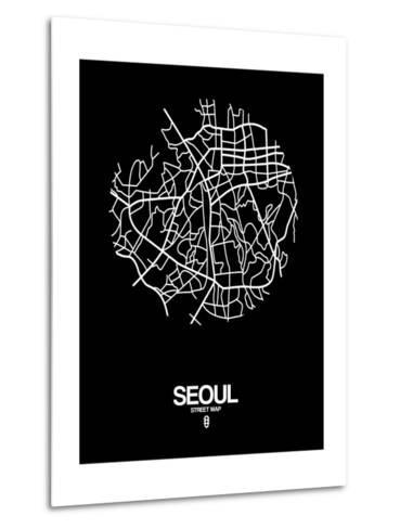 Seoul Street Map Black-NaxArt-Metal Print