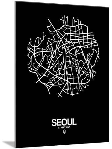 Seoul Street Map Black-NaxArt-Mounted Art Print