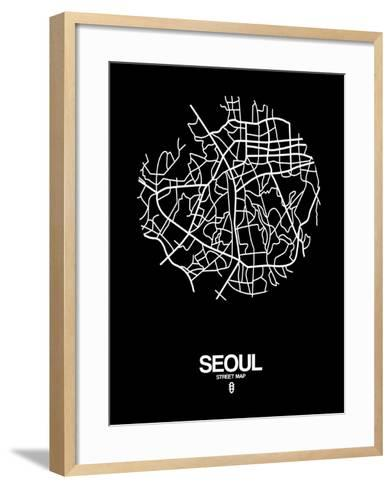 Seoul Street Map Black-NaxArt-Framed Art Print