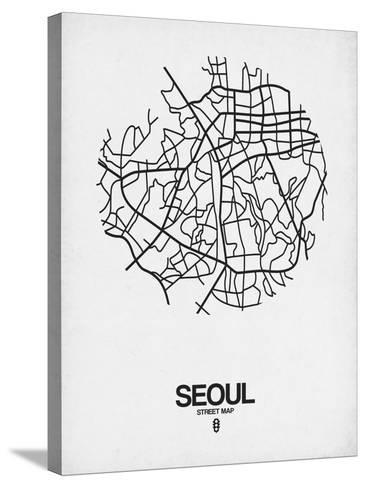 Seoul Street Map White-NaxArt-Stretched Canvas Print