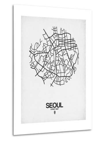 Seoul Street Map White-NaxArt-Metal Print