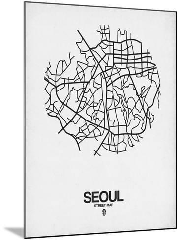 Seoul Street Map White-NaxArt-Mounted Art Print