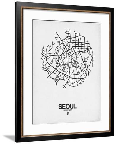 Seoul Street Map White-NaxArt-Framed Art Print