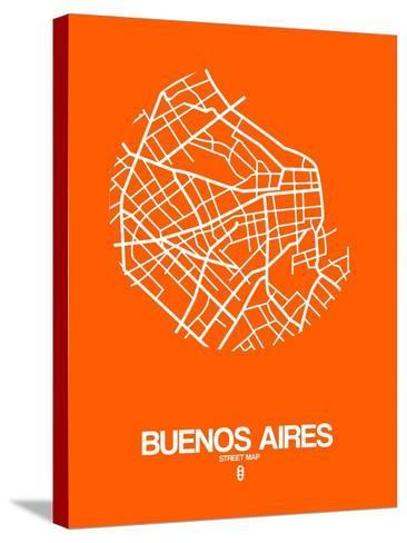 Buenos Aires Street Map Orange-NaxArt-Stretched Canvas Print