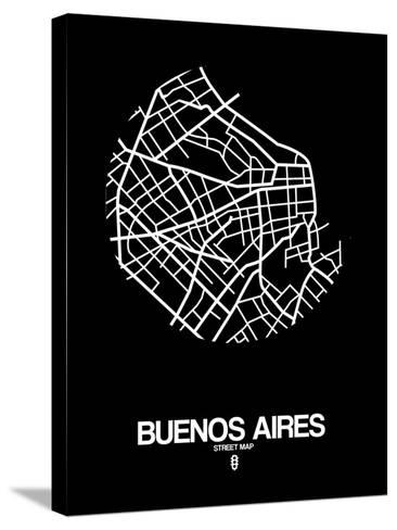 Buenos Aires Street Map Black-NaxArt-Stretched Canvas Print