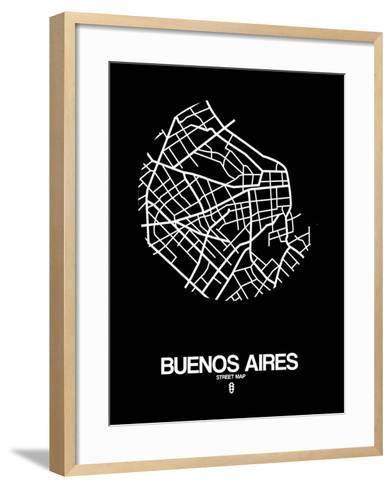 Buenos Aires Street Map Black-NaxArt-Framed Art Print