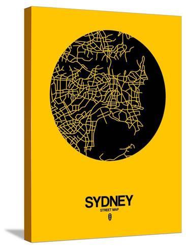 Sydney Street Map Yellow-NaxArt-Stretched Canvas Print