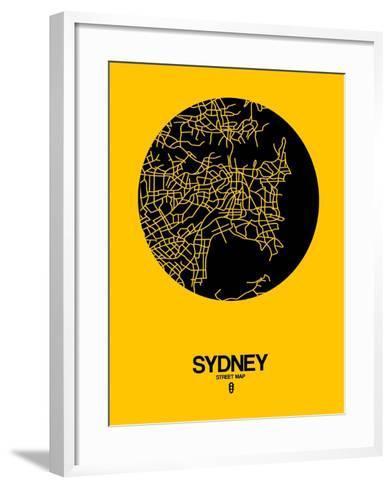 Sydney Street Map Yellow-NaxArt-Framed Art Print