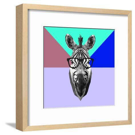 Party Zebra in Glasses-Lisa Kroll-Framed Art Print