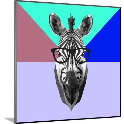 Party Zebra in Glasses-Lisa Kroll-Mounted Art Print
